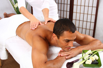 Young man receiving massage