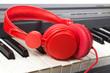 Casque ecouteur rouge