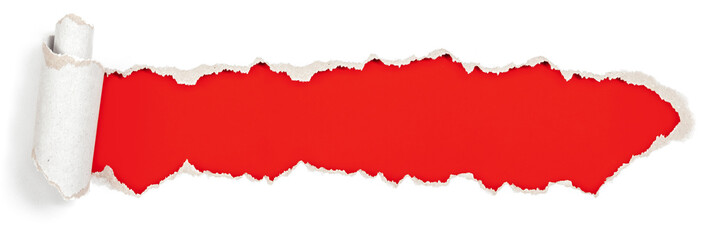 red header in torn paper hole