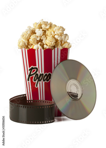 Box of fresh popcorn,film and CD