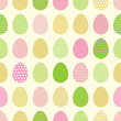 Happy Easter pattern with colored eggs.