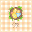 Happy Easter card with basket and eggs.