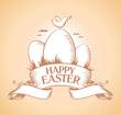 Happy Easter retro design template.