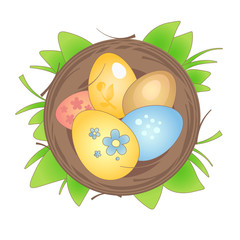 Happy Easter basket and eggs