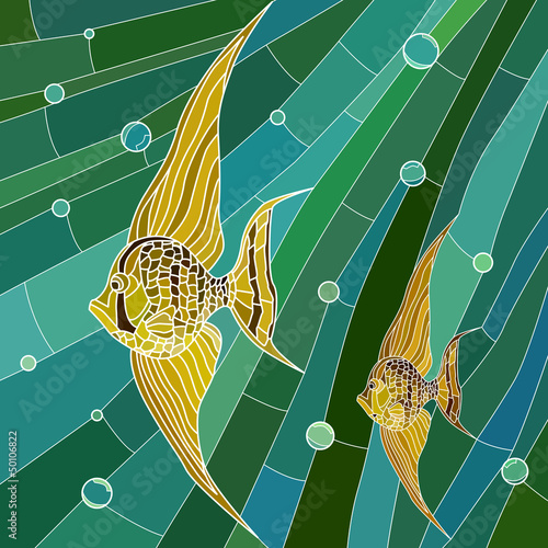 wektorowa-ilustracja-kolor-zolty-ryba-w-zieleni