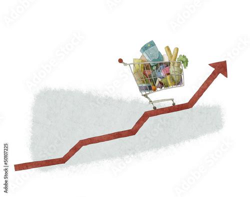Keuken foto achterwand Boodschappen shoping cart growth