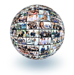 A globe i with many different business people