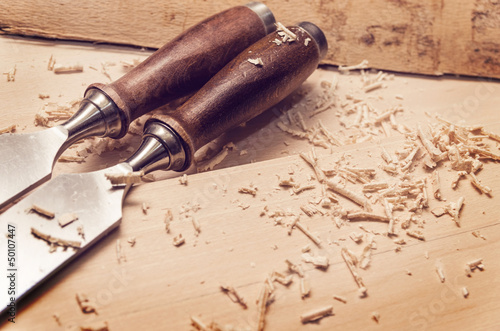 Chisels on wood