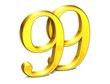 3D Gold Ninety-Nine on white background