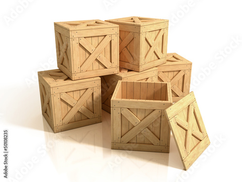 group of wooden crates