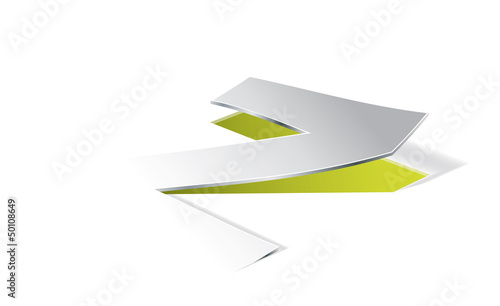 Paper folding with letter Z in perspective view