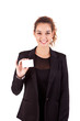 Woman holding empty white card, isolated over white