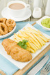 Fish & Chips - Battered cod fillet, chips, calamari & mushy peas