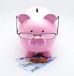 Leinwanddruck Bild - Tirelire avec lunettes sur billets et pièces euros