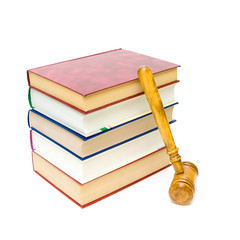 gavel and five books isolated on white close-up