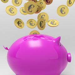Coins Entering Piggybank Showing European Loan