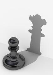 Черная пешка с высокой самооценкой. Шахматная фигура