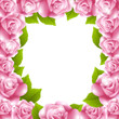Frame made of pink roses with text frame