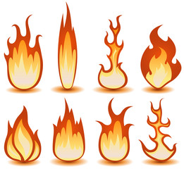 Fire And Flames Symbols Set