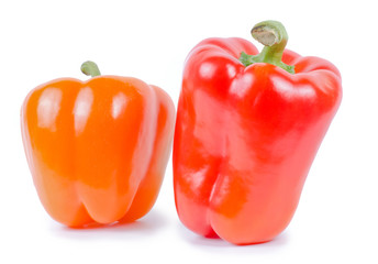 Red and orange sweet pepper isolated