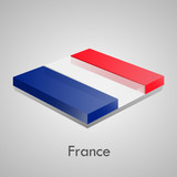 European flags set (glossy bricks) - France
