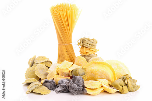 assortment of raw fresh pasta