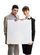 Business team couple holding blank poster