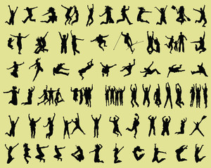 Silhouettes of people jumping and flying-vector