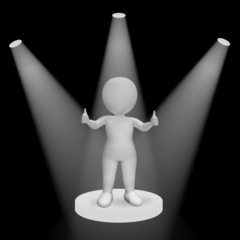White Spotlights On Thumbs Up Character Showing Fame And Perform