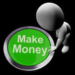 Make Money Button Shows Startup Business And Wealth
