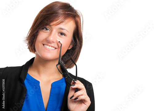 Young secretary holding her glasses isolated on white