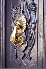 Bright bronze knocker on the  wooden door