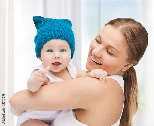 happy mother with adorable baby