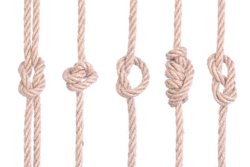A set of knots of rope connected isolated on a white