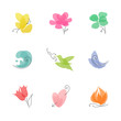 Multicolored nature – set of elegant vector design elements
