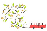 Ecological bus - sustainable transportation poster