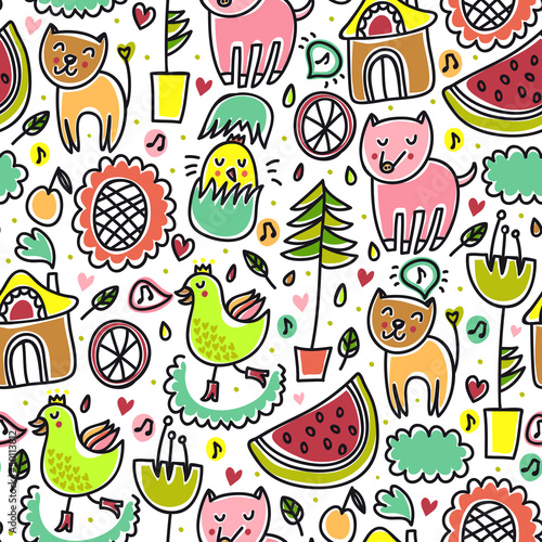 Tuinposter Op straat Cute colorful seamless childish pattern