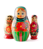 Russian dolls isolated on white background