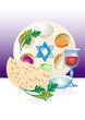 Jewish celebrate pesach passover with matzo,flowers, wine