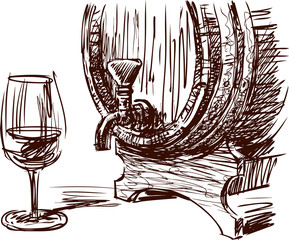 wine barrel and glass