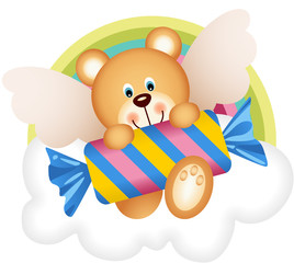 Teddy bear angel with candy on the cloud