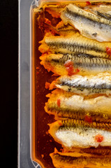 Preserved anchovy fillets in chili oil