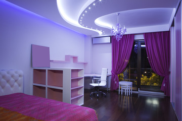 Interior of a modern purple room