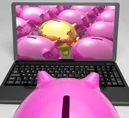 Gold Piggy Screen Shows Security And Fortune