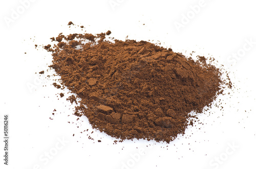 coffee powder close up on the white background