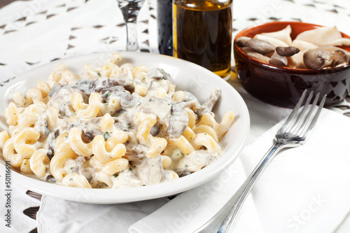 Penne pasta with mushroom and basil