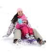 Winter, snow, sledding at winter time