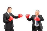 Angry mature boss and young businessman with red boxing gloves