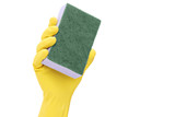 Hand with a rubber glove holding a sponge