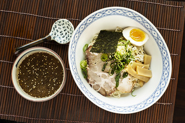 top down view of a ramen meal set